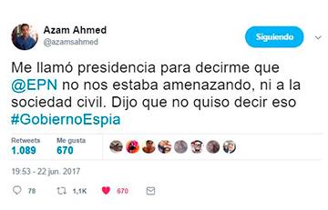 Tweet de Azam Ahmed de The New York Times