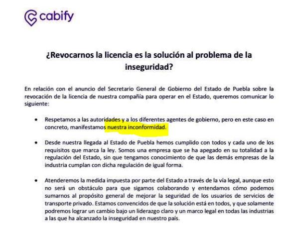 Inconformidad Cabify